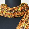 Hand Knit Ladies Ribbon Scarf - Sunflower