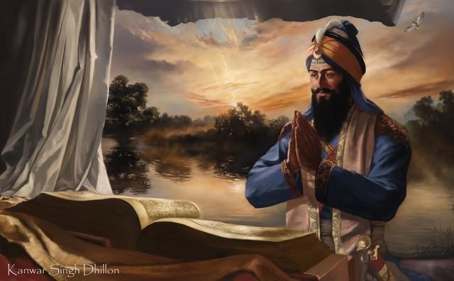 Guru Gobind Singh on Horse Guru Gobind Singh ji Maharaj