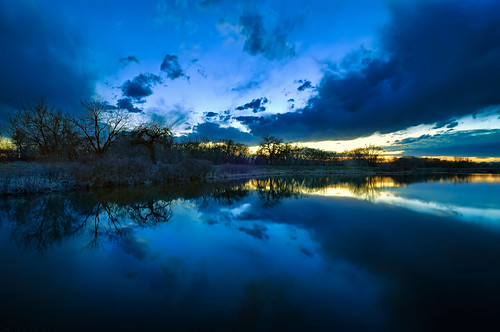 blue trees sunset sky cloud lake reflection tree nature silhouette clouds landscape nikon colorado natural dusk fortcollins cottonwood area co bluehour hdr 2010 d300 clff runningdeer tokina1116
