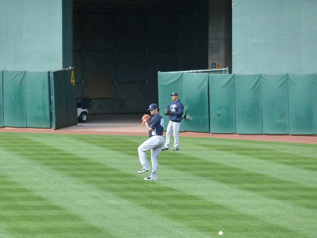Yankees throwing the ball around at Oakland-Alameda County Coliseum