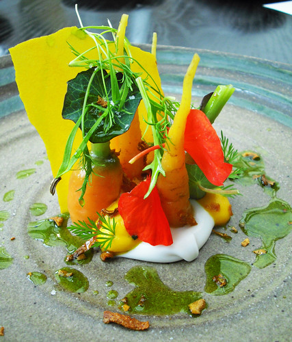 Carrots with Ham fat and Nasturtiums.