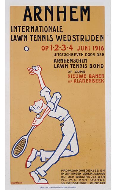 Affiche met aankondiging van de internationale tenniswedstrijden op Klarenbeek in 1916