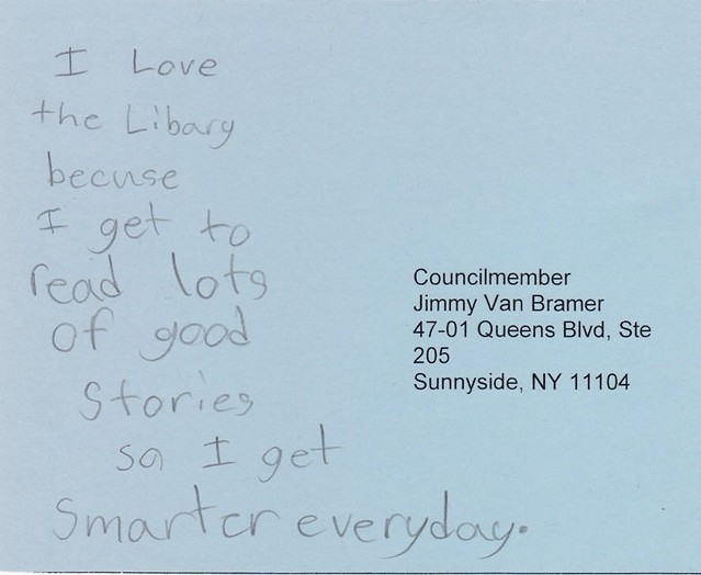 Save NYC Libraries Postcard Campaign -- Postcard 3