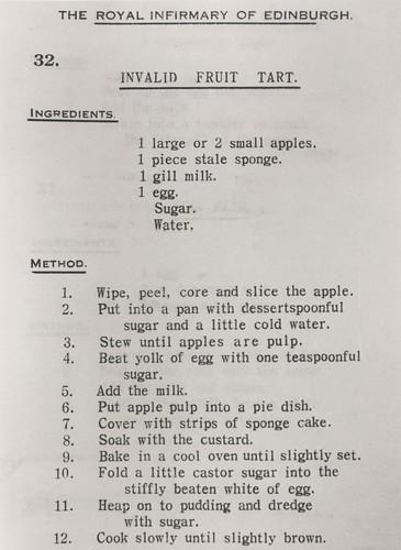 Invalid Fruit Tart Recipe, c.1937