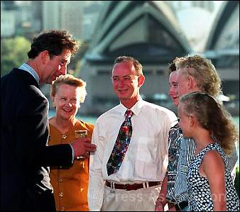 The Prince of Wales chats to well-wishers in Sydney during a tour of Australia in 1994