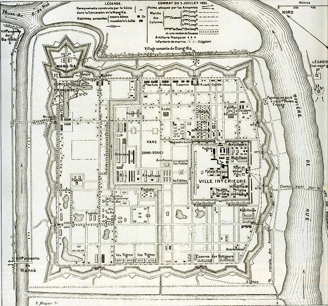 Plan de la citadelle de Hué - 1885