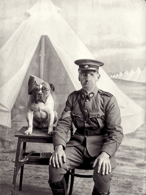 Staff Sergeant Major Gregory Van Pelt With His Dog Butcher Pictured Successfully Completing 47 Hours of Drunken Debauchery, 1915