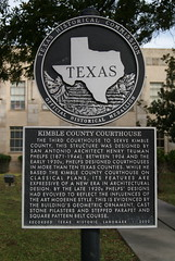 Photo of Henry Truman Phelps and Kimble County Courthouse black plaque