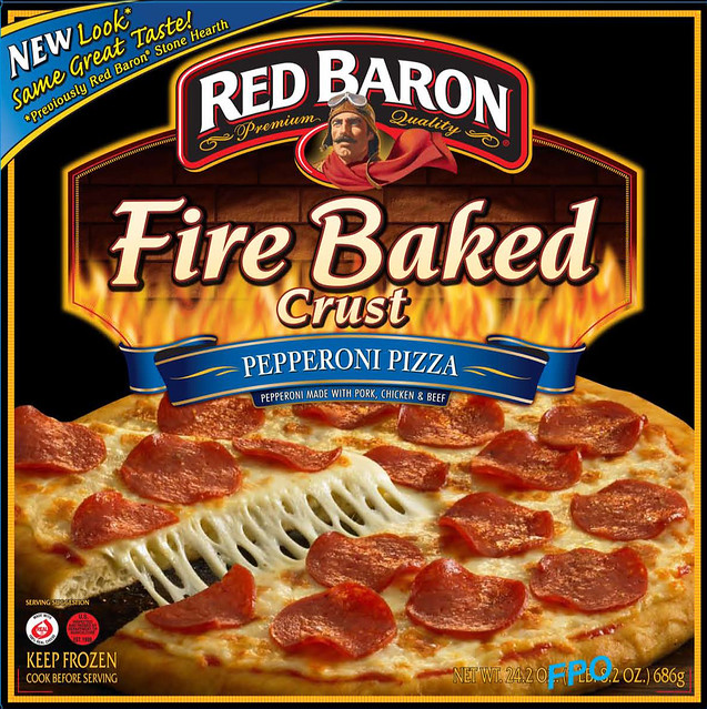 red baron174 pizza logo pizza fire baked crust pepperoni