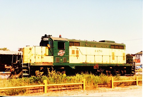 Chicago & NorthWestern Railroad EMD GP-7 road switcher. Sterling Illinois. September 1985. by Eddie from Chicago