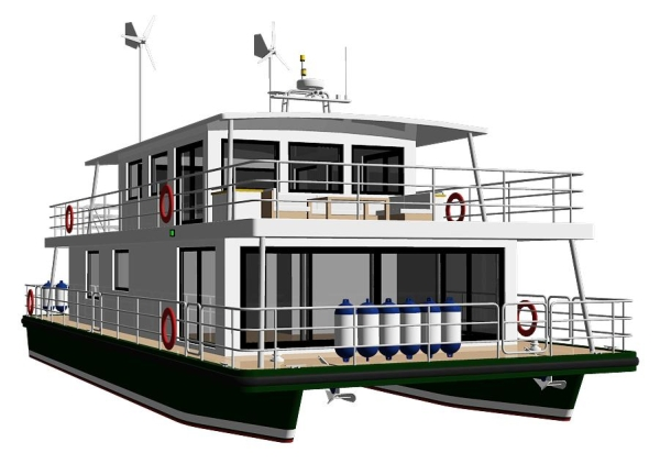 Modus maris houseboat modus maris catamarans for Boat house designs plans