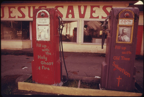 Gasoline Stations Abandoned During the Fuel Crisis in the Winter of 1973-74 Were Sometimes Used for Other Purposes...04/1974