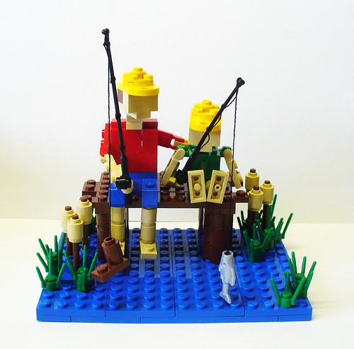 Fascinating lego model of the day miniland figures go for Batman fishing pole