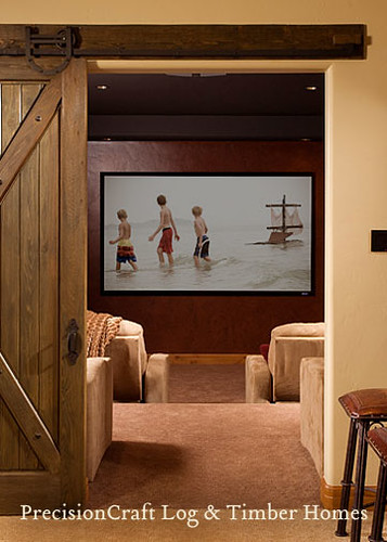 Movie Theatre Room | Timber Frame Home Interior | Custom Timber Home by PrecisionCraft