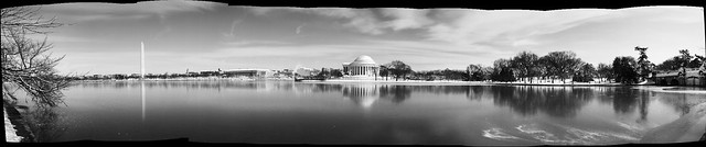 Tidal Basin in the Snow. B&W Stitch