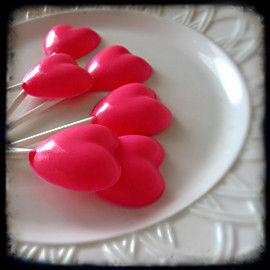 handmade pink chocolate valentine heart lollipops by isewcute