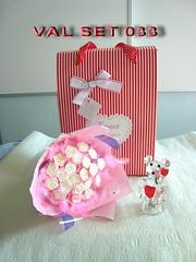 VAL SET 033 精美花束/玻璃水晶抱心小熊擺設禮合套裝 (小熊仲會閃燈轉色, 好浪漫)