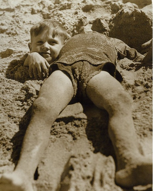 Billy and Graham Green from the Salvation Army Camp practise a little deceit, Collaroy Beach, ca. 1940 / photographer unknown