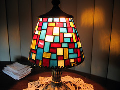 art, pattern, light fixture, yellow, lampshade, light, design, lighting, stained glass,