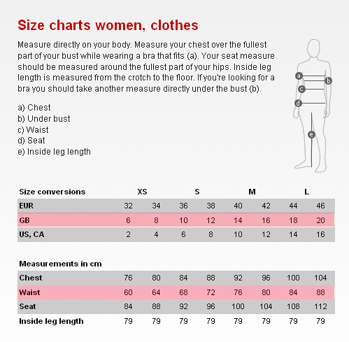 US letter sizes – XS to XXXL