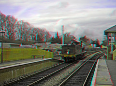 Steam Locomotive No.592 Reversing back into Kingscote station in anaglyph 3D