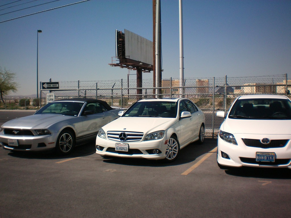 Our rental car in Las Vegas (the one in the middle) ;)