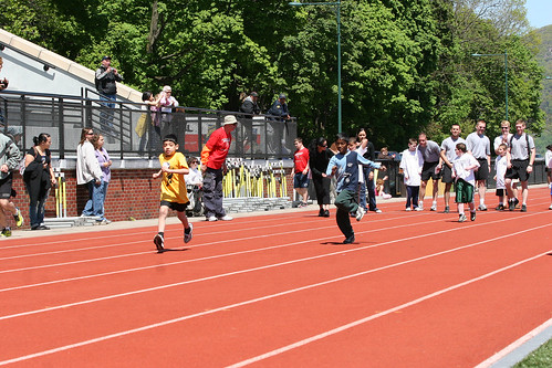 Racers in the 50 mm race at the Special Olympics