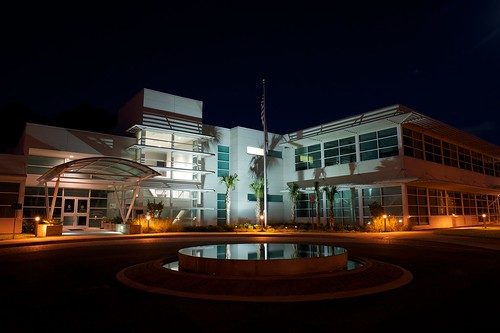 longexposure reflection building architecture night lights shadows outdoor palmtree saintaugustine project365 145365 nikond700 afnikkor24mmf28d nikonstar stjohnscountyutilitydepartment