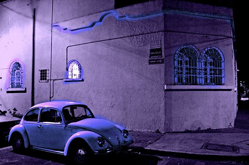 Purple - Calle Belgica - VW bug, night, lit window, Guadalajara, Jalisco, Mexico by Wonderlane