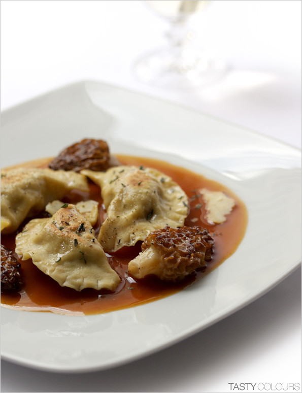 Tasty colours dumplings pierogi with lamb morels and for Auguste escoffier ma cuisine