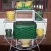Vintage Plantstand, Metal Picnic Basket and Pottery
