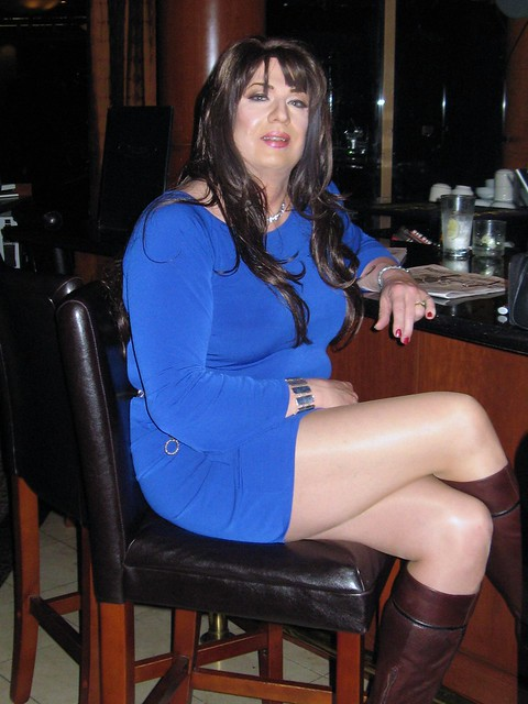 Blue dress with tall Leather Boots