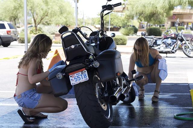 Bikini Bike Wash. These girls braved 105 degree temps to wash Harleys.