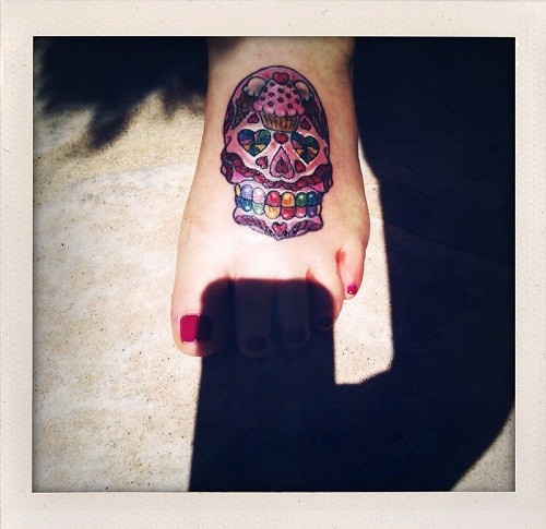 Sugar Skull Tattoo On Feet