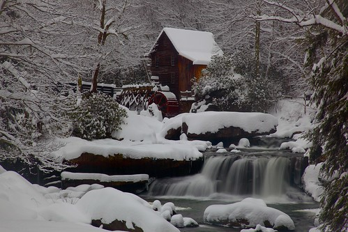 West Virginia Gristmill Waterfall Winter Snow