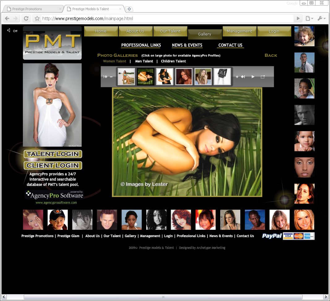 Prestige Models Flash Website