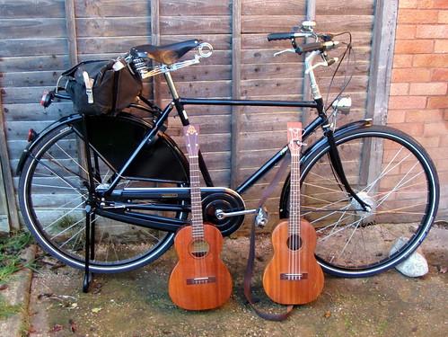 Pahley Roadster and Baritone ukuleles by Bicycle and Ukulele