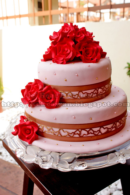 Two tier stacked fondant cake for wedding Theme colour Red Light Pink and