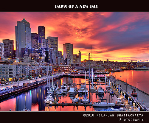 seattle city sunset color skyline sunrise dawn cityscape hdr panoramafotográfico