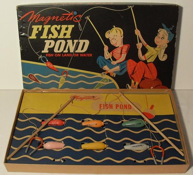1940s Vintage Fish Pond Magnetic Toy Game BOX graphics illustration