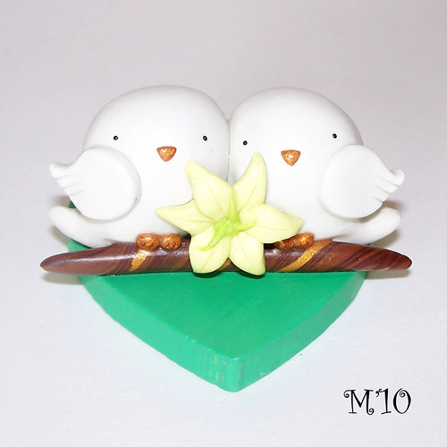 Tweets in Love CUSTOM Bird Wedding Anniversary Polymer Clay Cake Topper