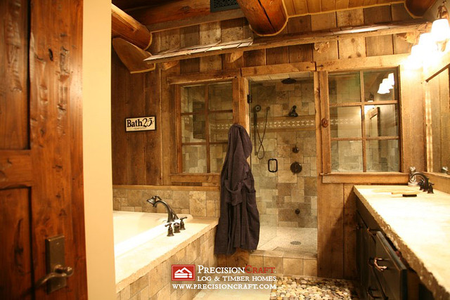 Dazzling log home bathrooms flickr photo sharing for Log cabin bathroom design ideas