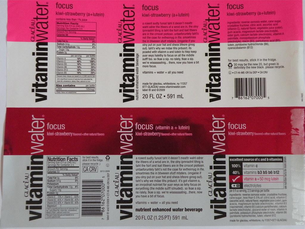 Vitamin Water Food Label