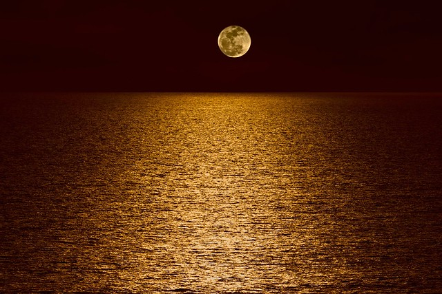 Moon Over Pacific Ocean