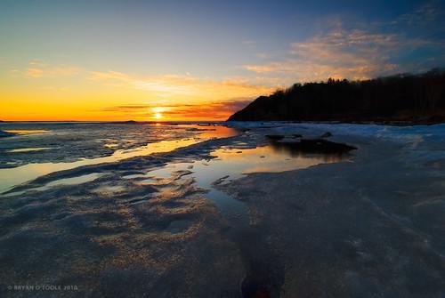 sunset snow ontario canada ice water landscape nikon scenic superior blended soo lakesuperior manfrotto saultstemarie waterscape layered photomatix groscap bracketting nikond80 exposurefusion kenkopro1dnd8 nikkor1024mm kenkopro1dcp