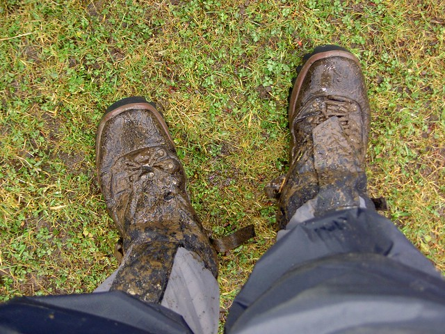 The state of my boots and new gaiters after all that mud