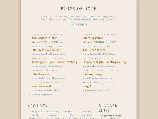 blogger blogs of note april 2010
