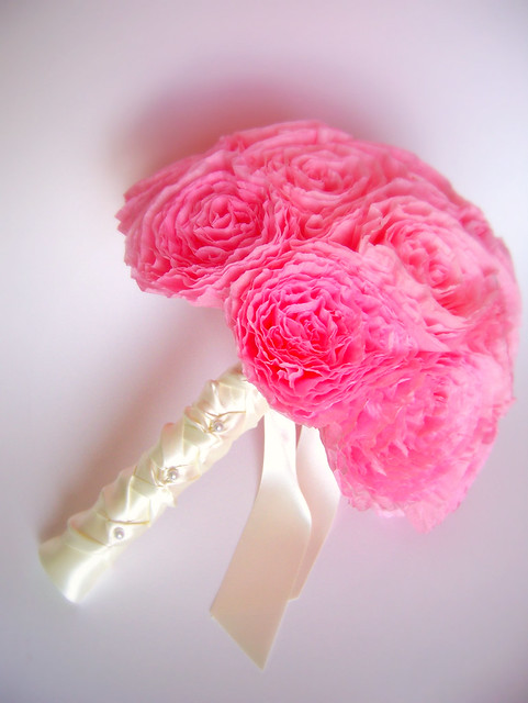 Pink Bridal Bouquet Made From Coffee Filters