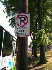No Parking Except City Bus