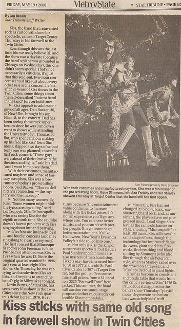 05/17/00 Kiss/Ted Nugent/Skid Row @ Minneapolis, MN (Newspaper Article)